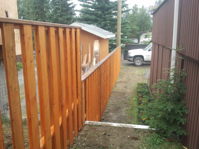 Cedar Fence Along Side Of Property