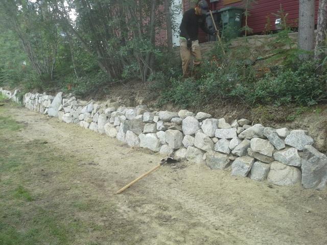 Custom Boulder Retaining Wall