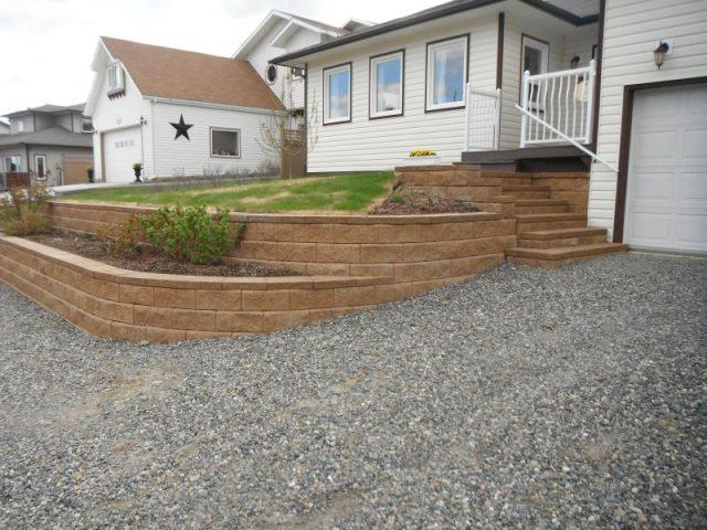Beautiful Frontyard Created With Allan Blocks.